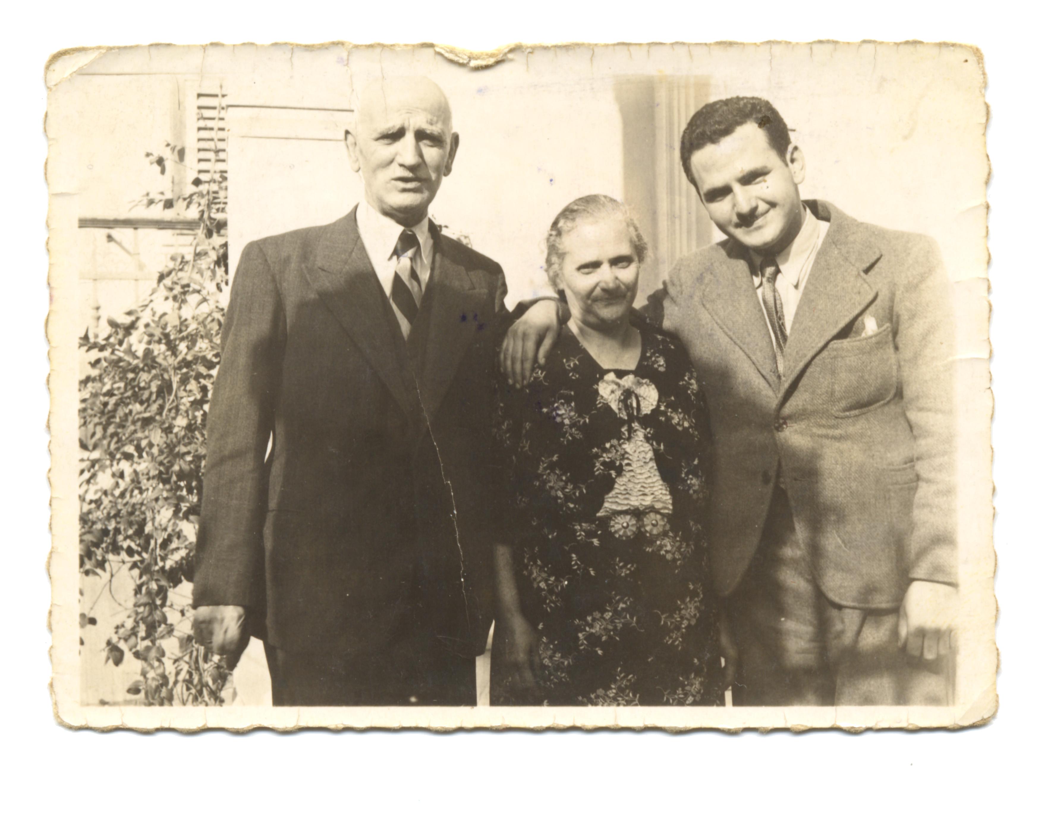 Solon Molho and his parents, Mair and Sterina Molho
