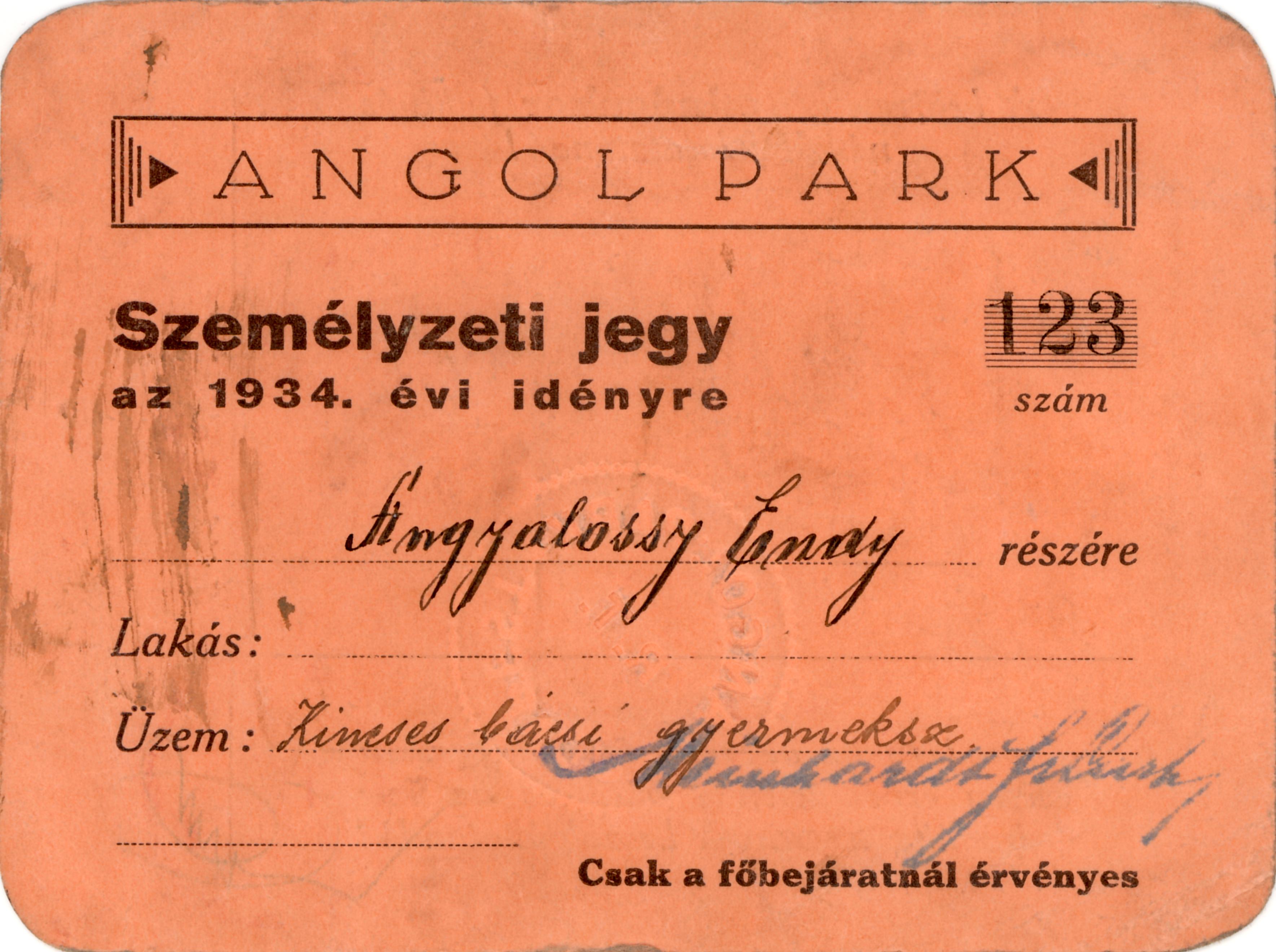 Belépõ az Angol Parkba