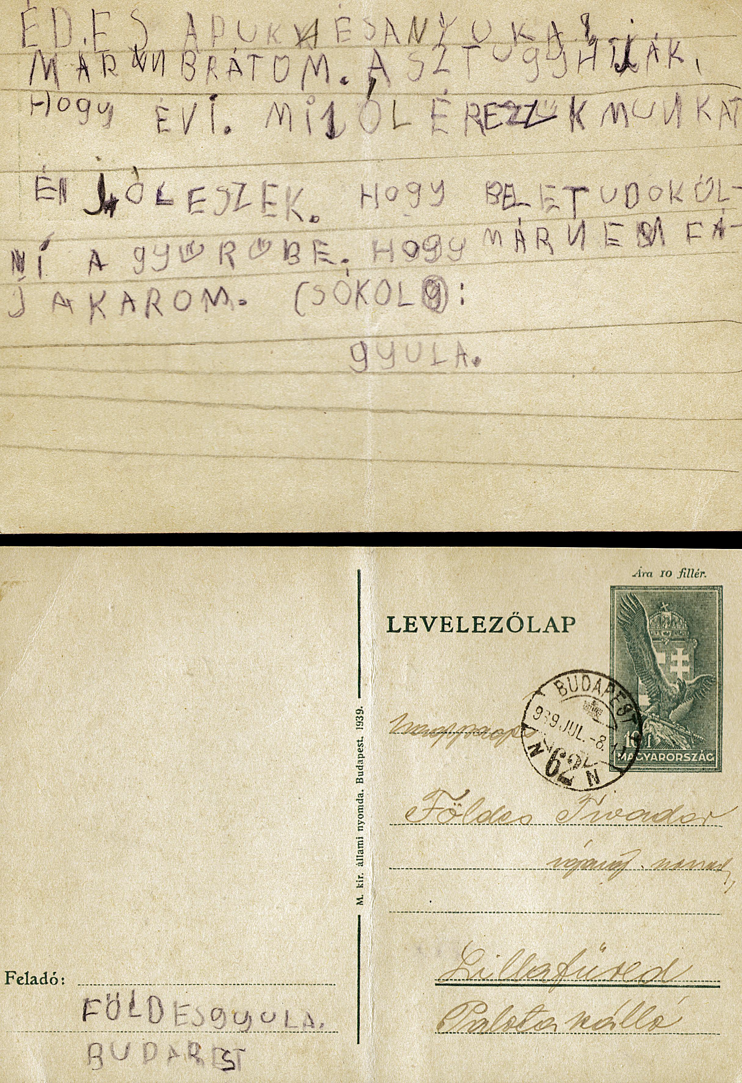 Gyula Foldes' first piece of writing