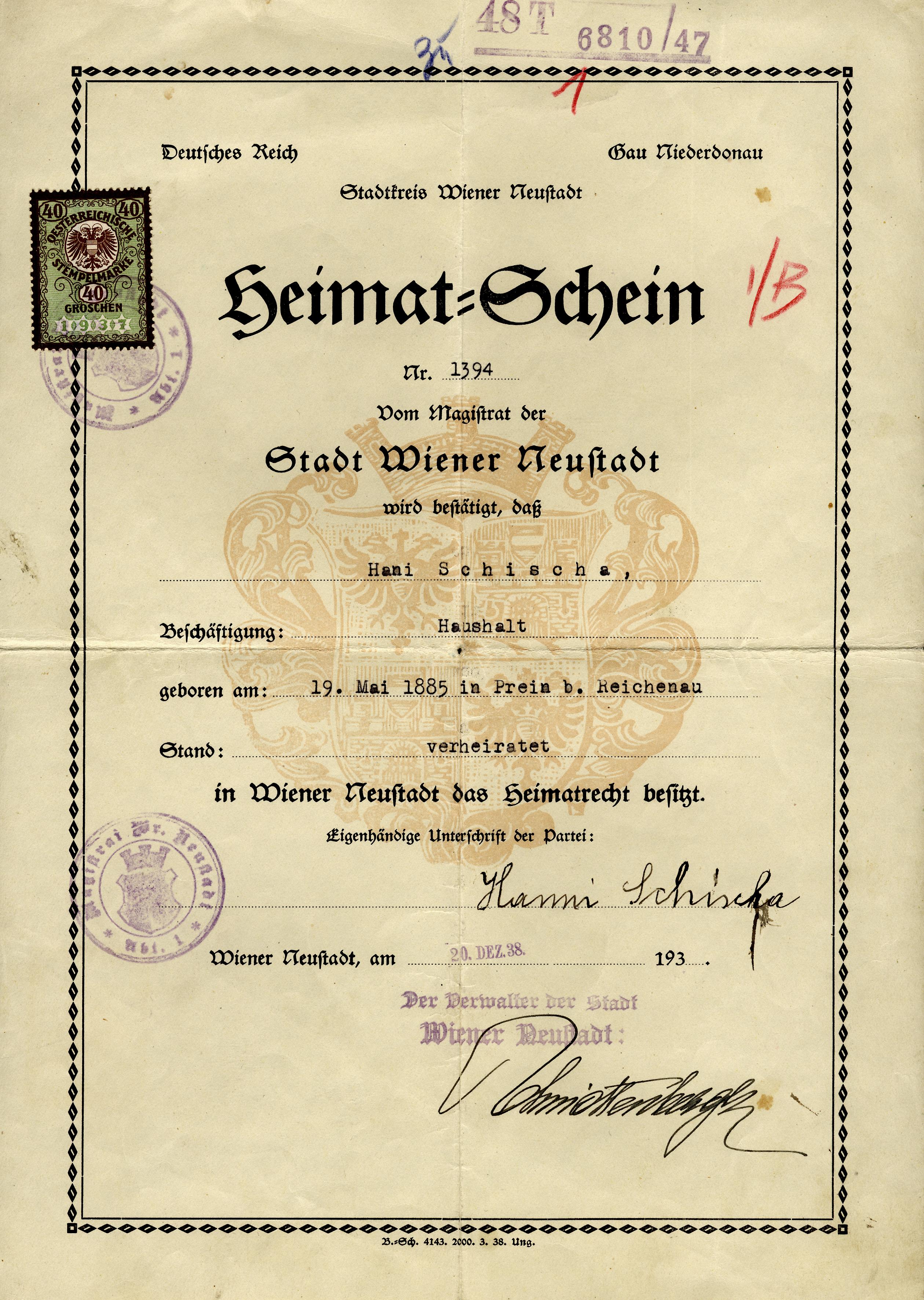 Certificate stating Lilli Tauber's mother, Johanna Schischa's right of domicile in Wiener Neustadt