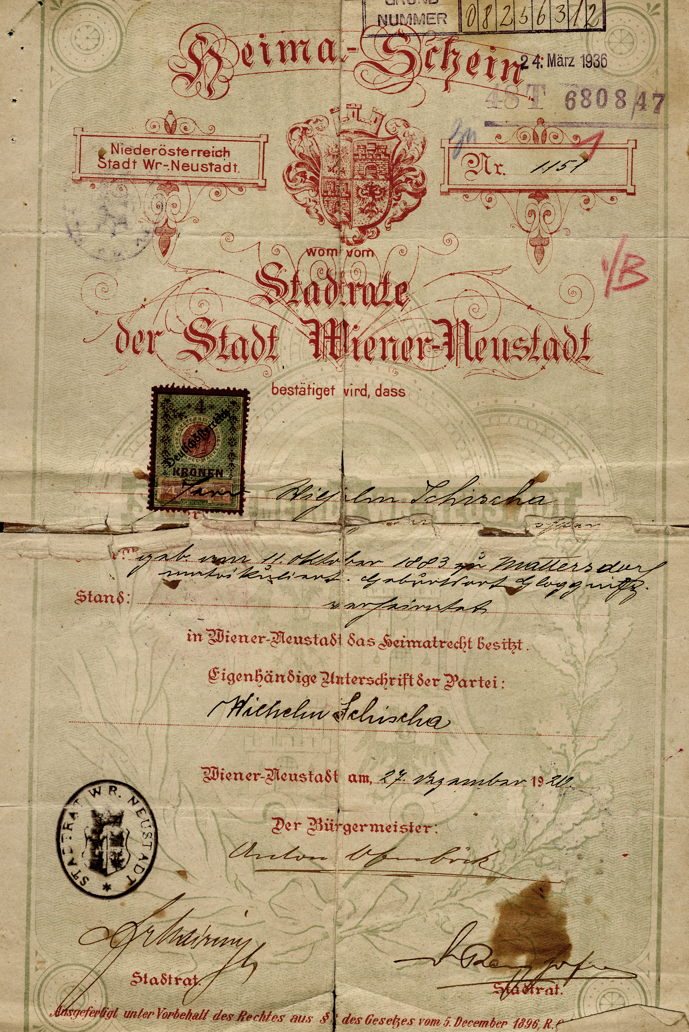 Certificate stating Lilli Tauber's father Wilhelm Schischa's right of domicile in Wiener Neustadt