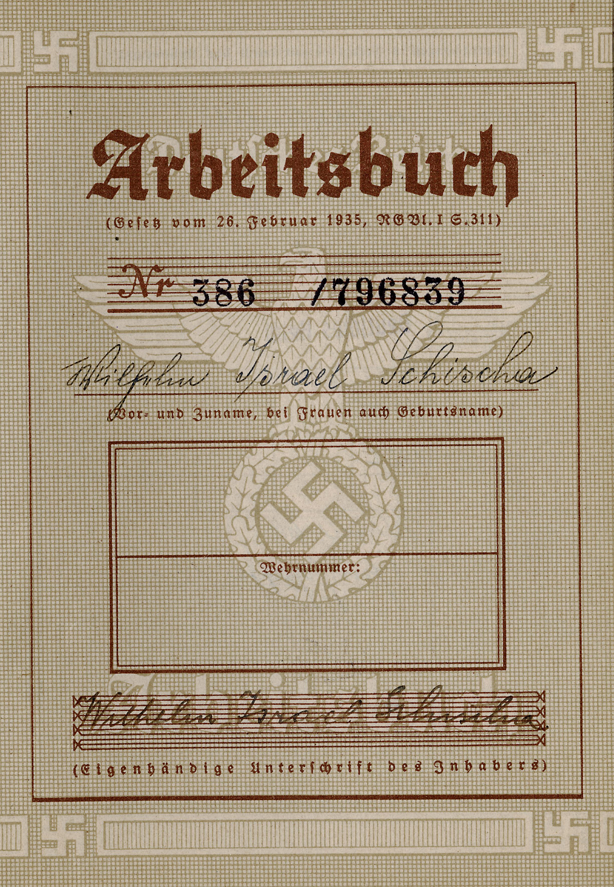 Employment book of Lilli Tauber's father Wilhelm Schischa