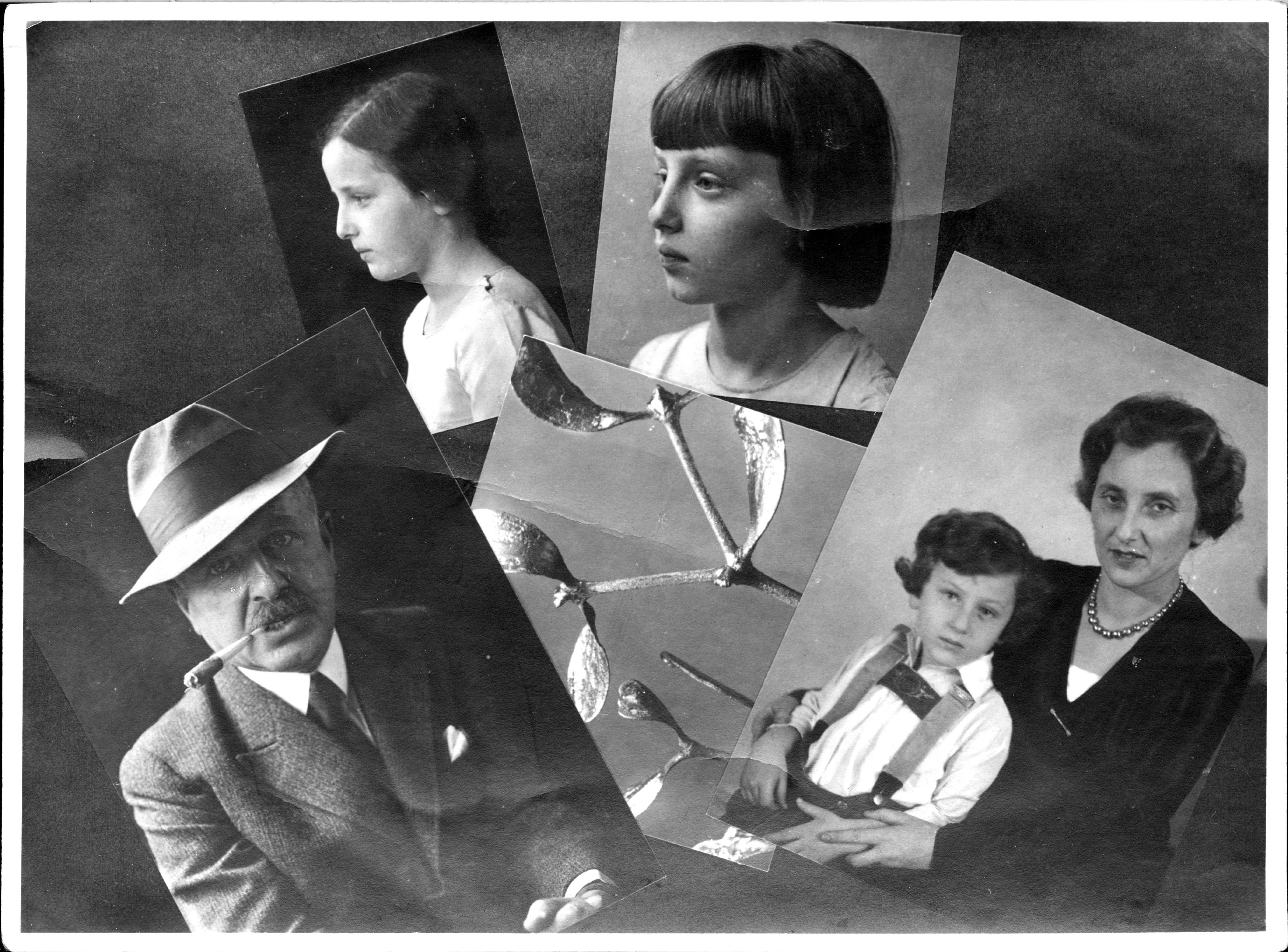 Familien-Grußkarte, Eva Köckeis-Stangl mit Eltern und Geschwistern