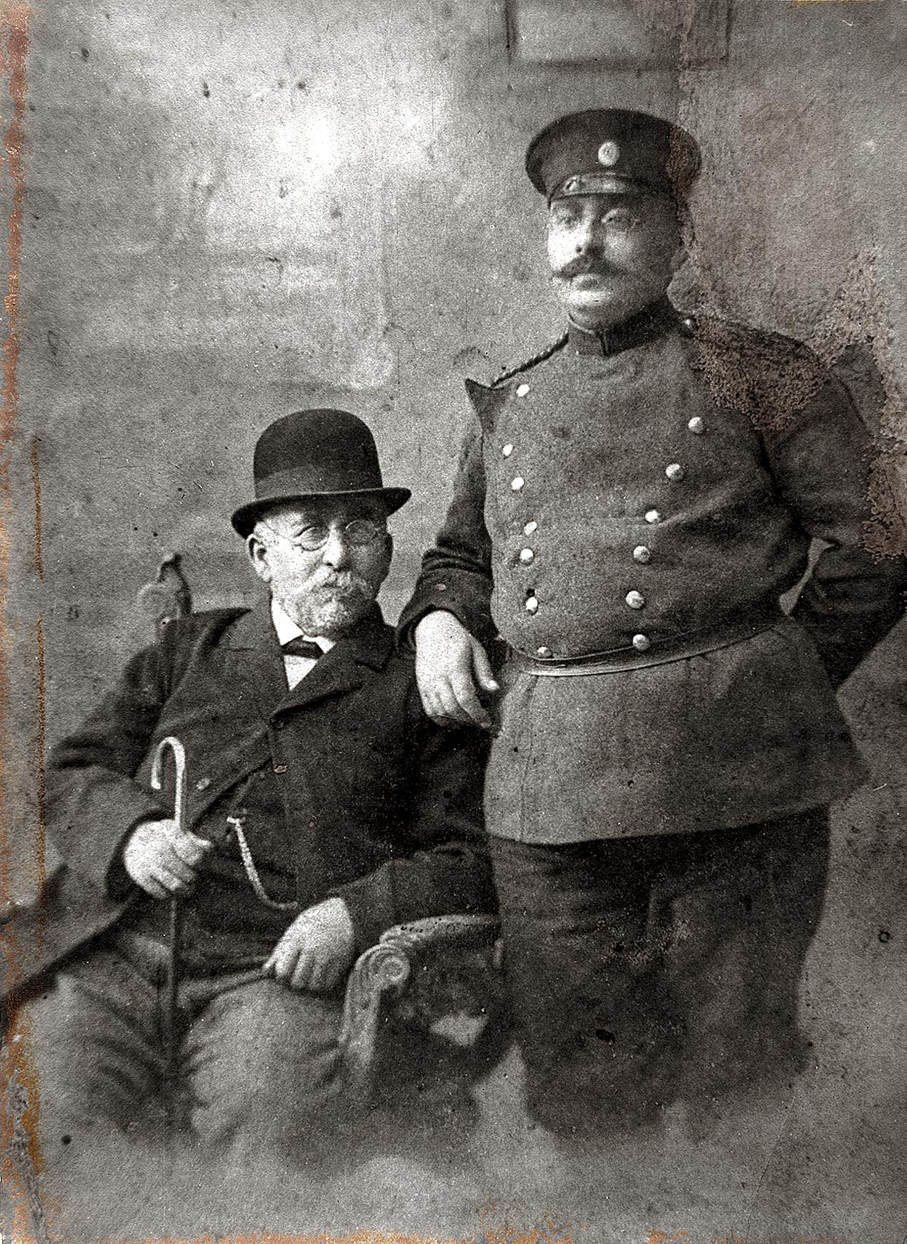 Matilda Albuhaire's paternal grandfather, Yacov Mercado Albuhaire, with his son Avram Albuhaire