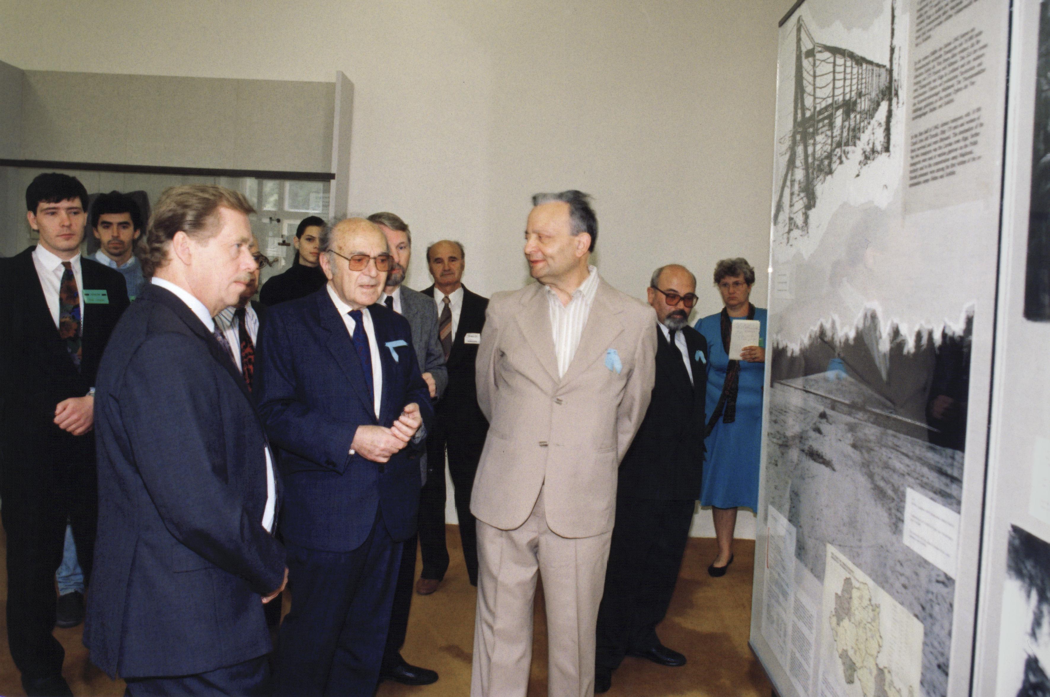 Kurt Kotouc at an exhibition at Terezin Memorial