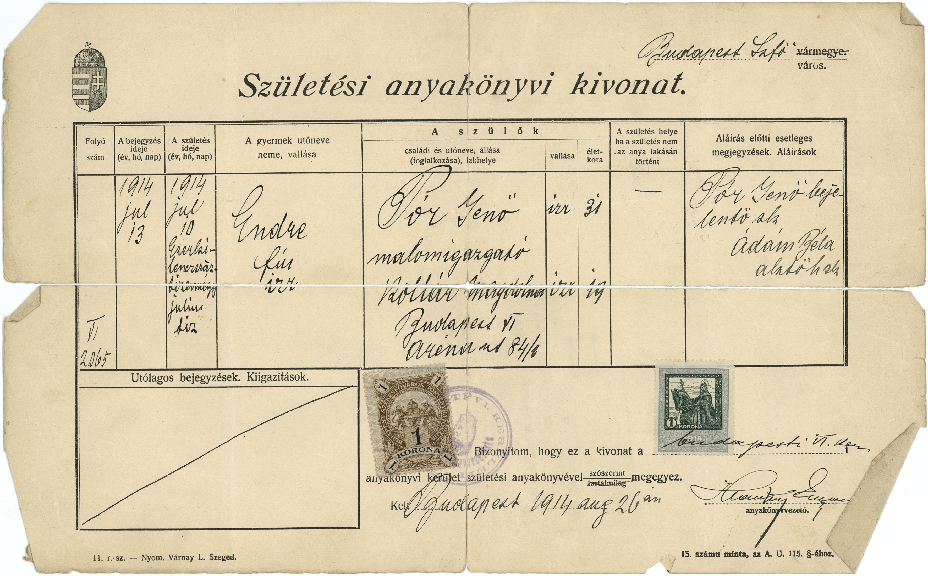 Pór Endre születési anyakönyvi kivonata
