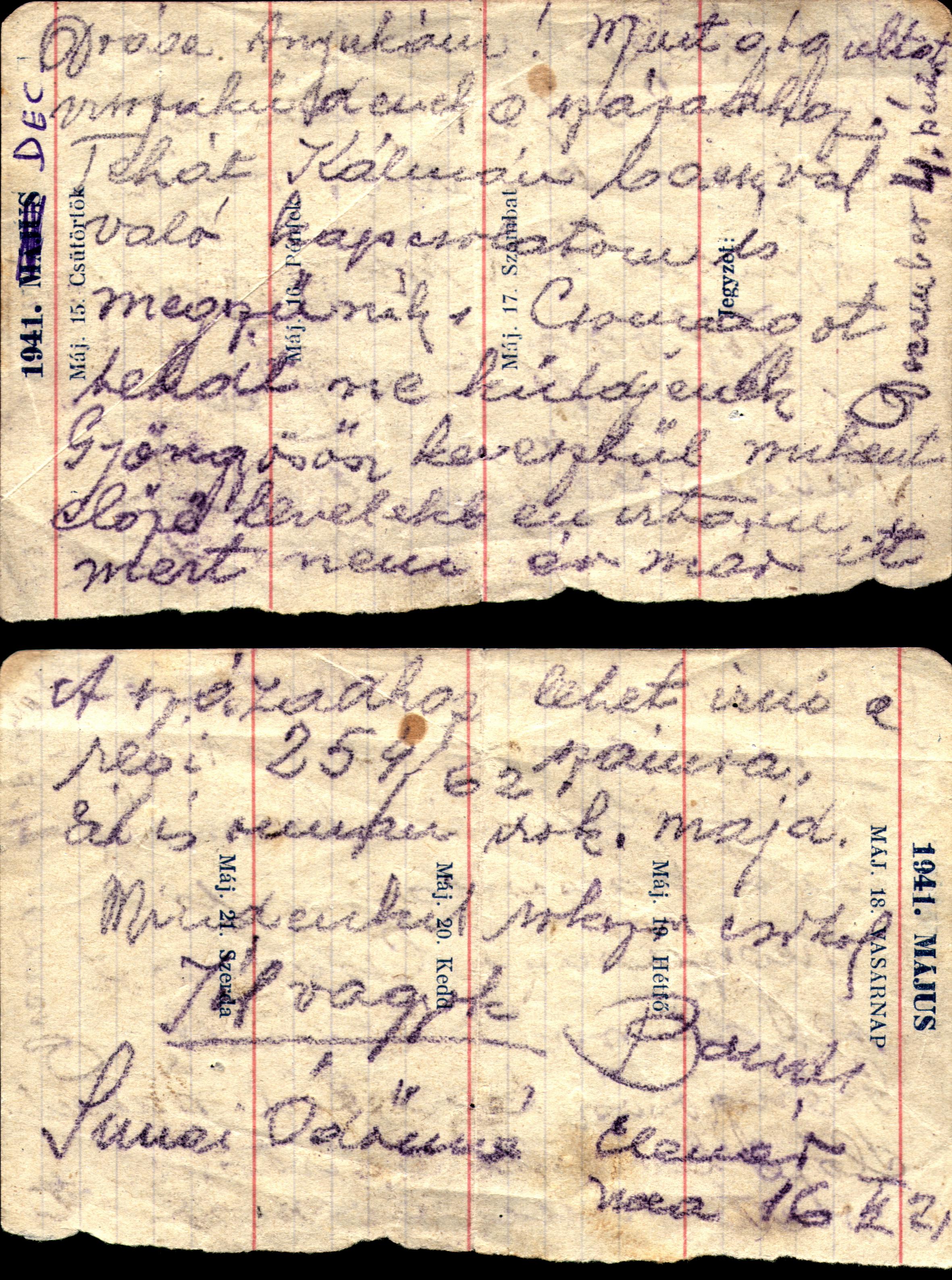 Simai Endre levele a munkaszolgálatból