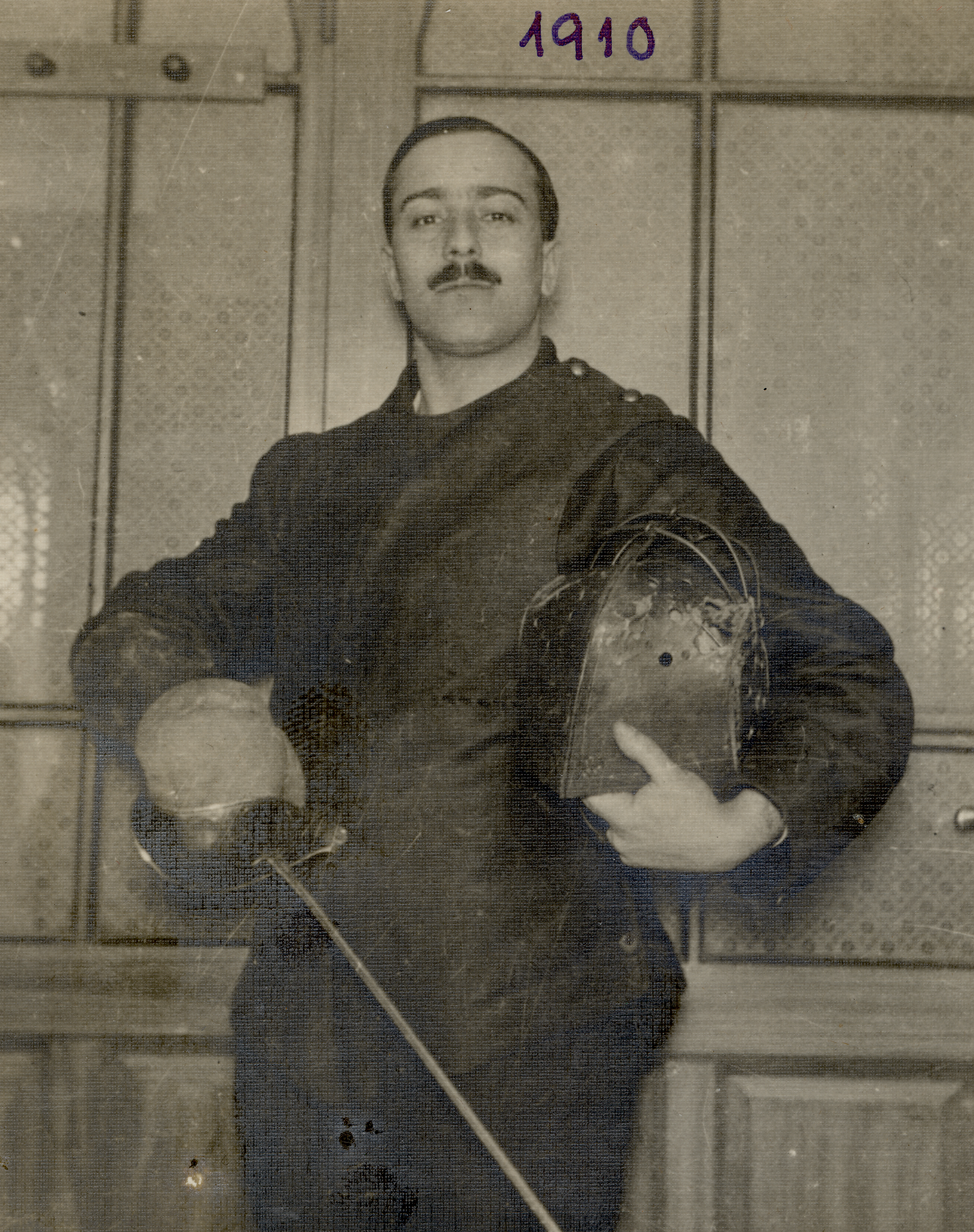 Miksa Domonkos in his fencing outfit