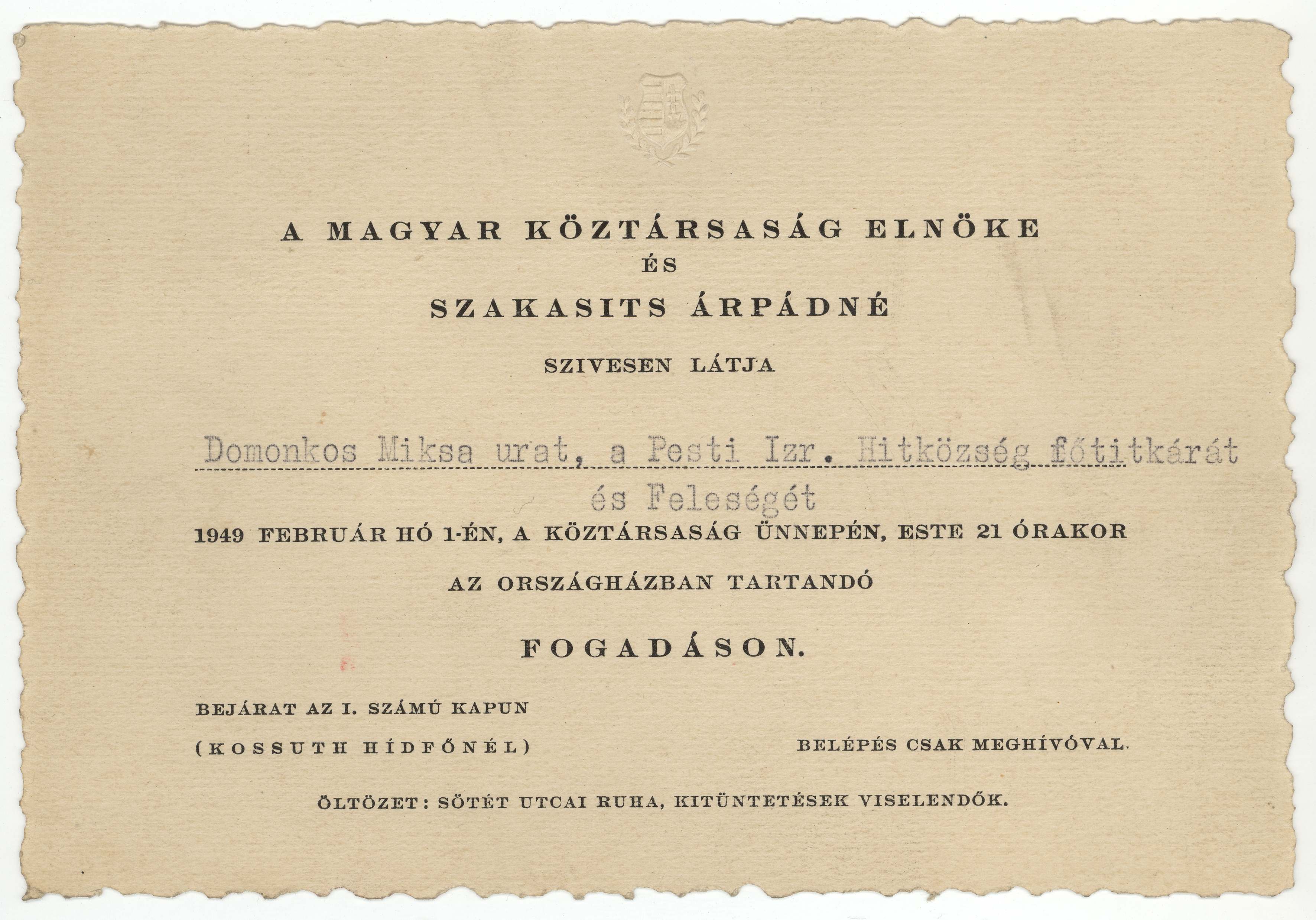 Invitation for Miksa Domonkos and his wife to a reception in Parliament