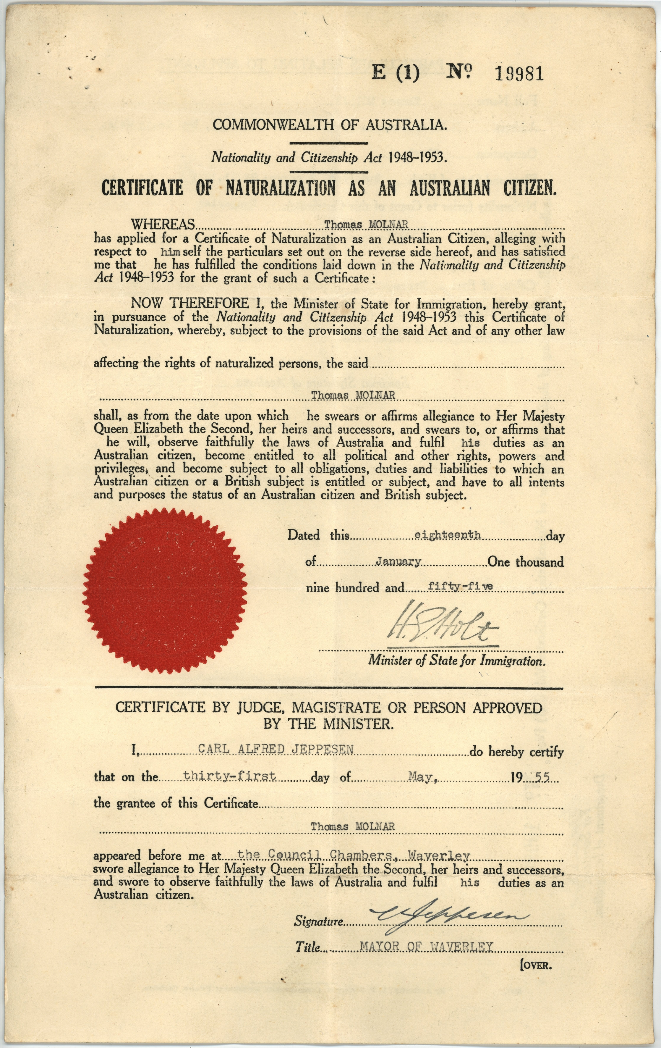 Thomas Molnars Certificate Of Naturalization As An Australian