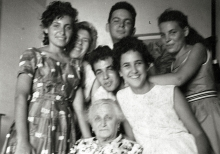 Zwi Bar-David with his grandmother Golda Braw and cousins