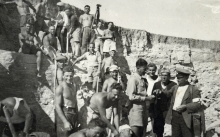 Mayer Rafael Alhalel with fellow camp workers in a Jewish labor camp