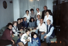 A gathering of  Sophie Pinkas's family and guests from Israel