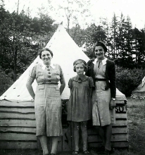 Eva Meislova with her mother Stepanka Bohmova and a friend at a summer scout camp