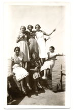 Renee Molho with her sister Matilde Dzivre and friends