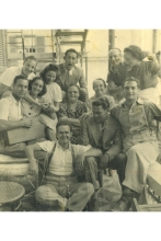 Renee Molho with friends in the ghetto of Thessaloniki