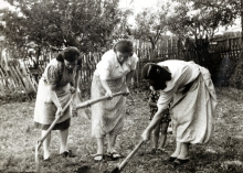 Hana Gasic's mother Flora Montiljo during a post-war work action with neighbors