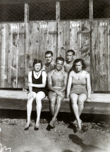 Hana Gasic's parents Menahem and Flora Montiljo with friends at the 'lake' in Sarajevo