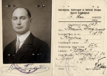 The war invalid identity card of Miklos Braun's father, Zsigmond Braun