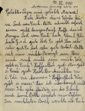 A letter Lilli Tauber wrote from England to her parents, Wilhelm and Johanna Schischa, in Austria in 1940