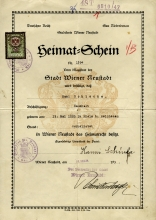 Certificate stating Lilli Tauber's mother, Johanna Schischa's right of domicile in Wiener Neustadt