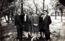 Beila Molchanskaya and Shlomo Molchanskiy with a group of friends