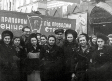 Sarra Shpitalnik with her collegues at the parade on October Revolution Day