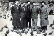 Nachman Elencwajg with his friends after WWII