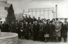 Izsak and Zsofia Brull with workers of the Turda porcelain factory
