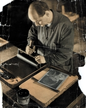 Peter Reisz's father, Imre Reisz, at work