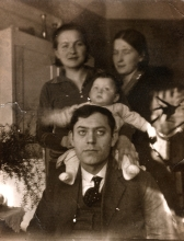 Matilda Cerge with her parents and aunt from Slovenia