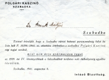 Notification of exclusion from the casino issued to Judita Sendrei's father, Matija Bruck