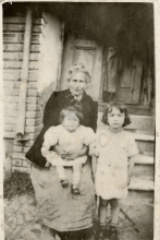 Klara Kasavi with her granddaughters Elsa and Klara