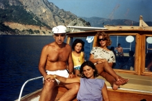 Harun Bozo with his wife and daughter on a boat-trip