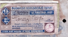 Erzsebet Radvaner's brother Laszlo Gonczi´s membership ticket in the Budapest Ice-skating Society