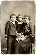 Erzsebet Radvaner with her mother Terez Gonczi and her brother Laszlo Gonczi