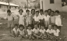 Pavel Potocky among children from the kibbutz