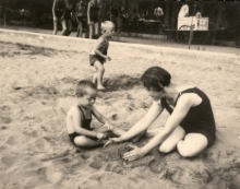 Asaf Auerbach with his mother at a sandpit