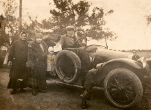 Emil Synek and his family on a trip with his car