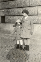 Alena Munkova with her brother at the Letna riverfront