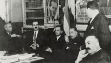 Miksa Domonkos at a discussion at the Jewish community
