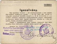 Istvan Domonkos's membership certificate of the Clothes-Collecting company