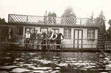 Hedvig Endrei in her brother's boat-house on the Romai shore