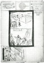 Zsuzsa Merenyi's diary with drawings about the deportation